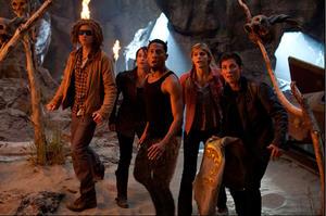 "Douglas Smith as Tyson, Leven Rambin as Clarisse, Brandon T. Jackson as Grover, Alexandra Daddario as Annabeth and Logan Lerman as Percy Jackson in ""Percy Jackson: Sea of Monsters."""