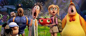 """Manny voiced by Benjamin Bratt, Steve the Monkey voiced by Neil Patrick Harris, Earl voiced by Terry Crews, Flint Lockwood voiced by Bill Hader, Sam Sparks voiced by Anna Faris and Brent voiced by Andy Samberg in """"Cloudy with a Chance of Meatballs 2."""""""