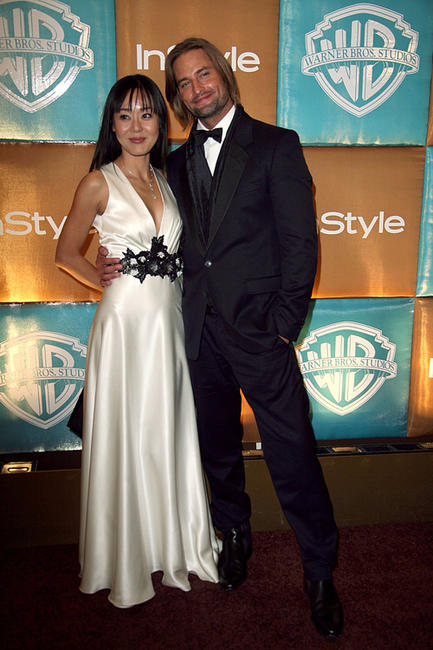 Photo of Yunjin Kim & her friend actor  Josh Holloway - Lost