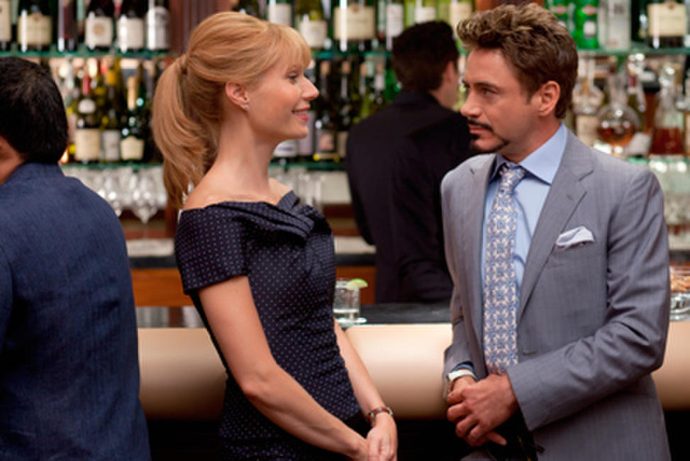 Gwyneth Paltrow as Pepper Potts and Robert Downey, Jr. as Tony Stark in