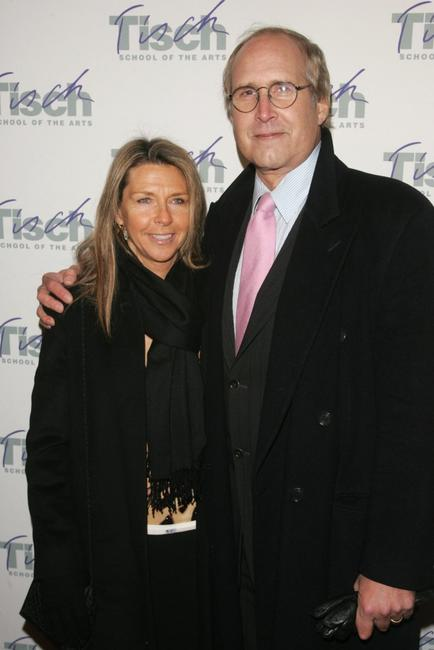 Chevy Chase and his wife at the Tisch School of the arts annual gala benefit at the St. James Theatre.