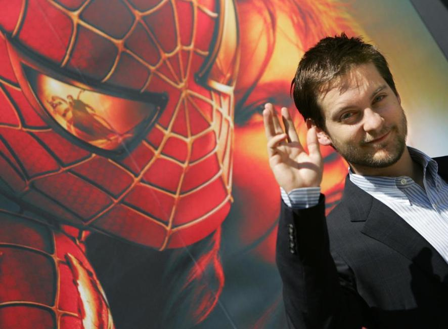 Tobey Maguire at the Madrid presentation of Spiderman-2.