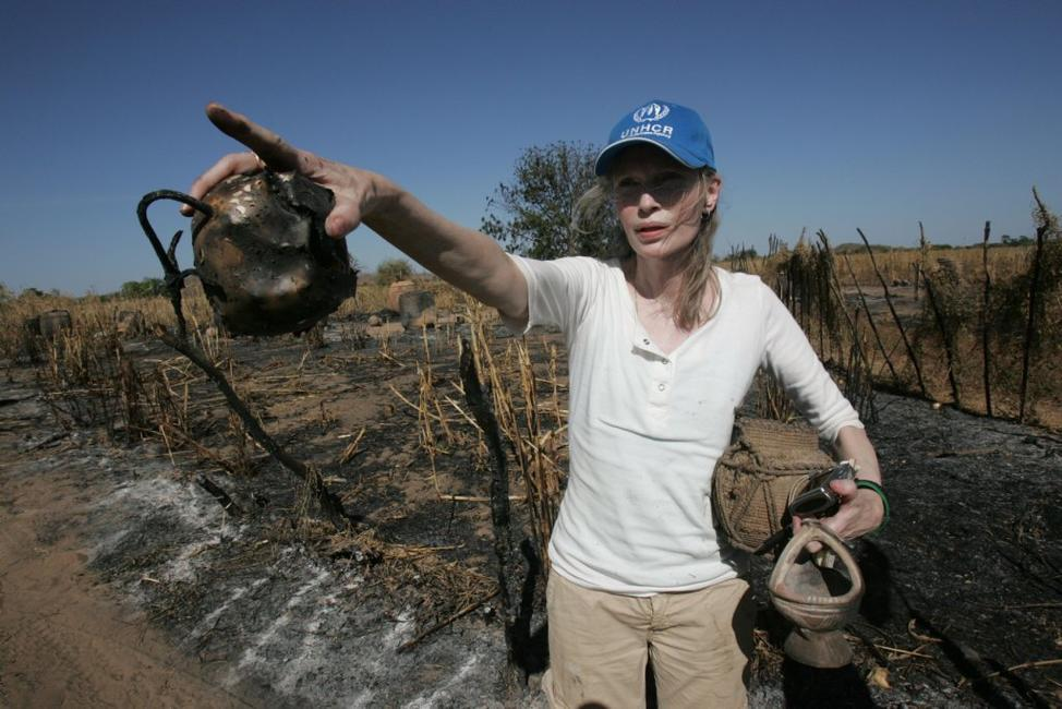 Mia Farrow at the burned village in Tamadjour.