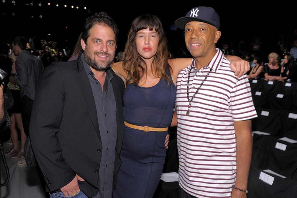 Brett Ratner, Paz De La Huerta and Russell Simmons at the Z Spoke by Zac Posen Spring 2011 fashion show during the Mercedes-Benz Fashion Week.