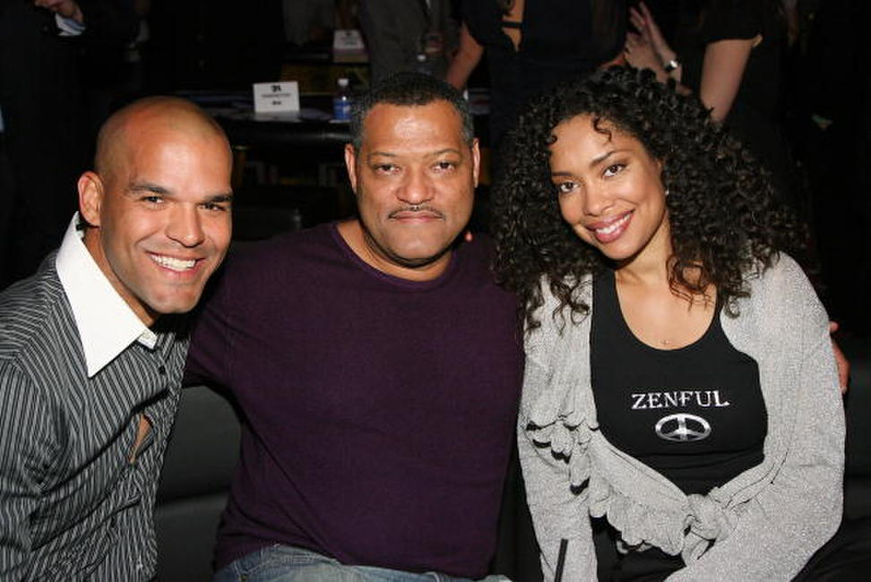 Actors Amaury Nolasco, Laurence Fishburne and wife Gina Torres at the after party of the Las Vegas premiere of