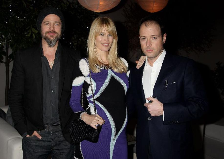 Producer Brad Pitt, Claudia Schiffer and Matthew Vaughn at the after party of the European premiere of
