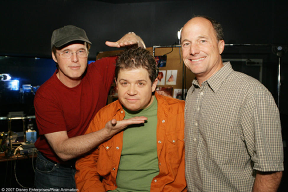 Director Brad Bird, Patton Oswalt and Brad Lewis on the set of