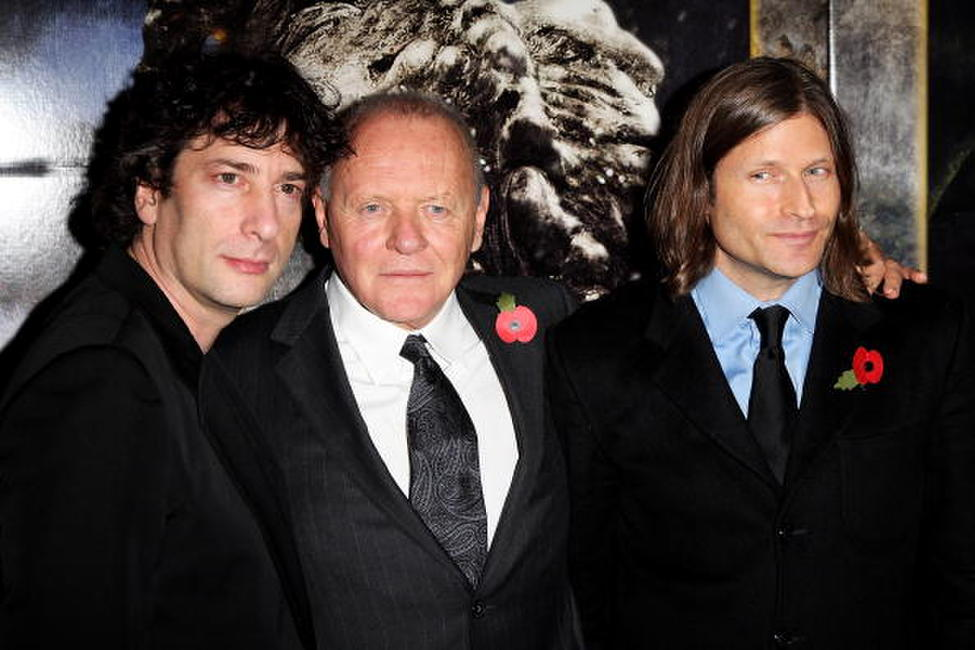 Neil Gaiman, Sir Anthony Hopkins and Crispin Glover at the European premiere of