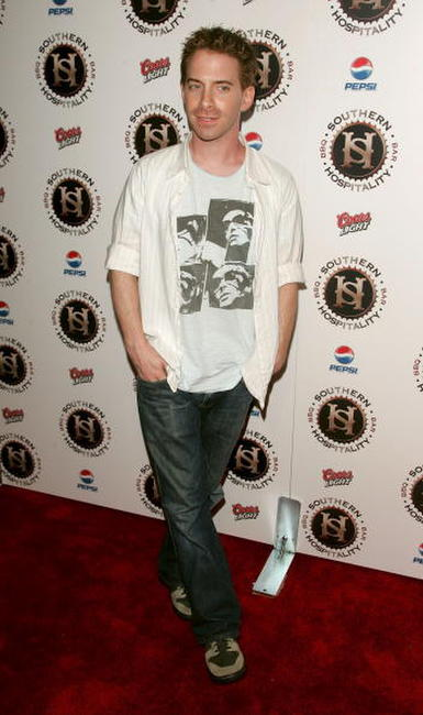 Seth Green at the grand opening of the new restaraunt Southern Hospitality.