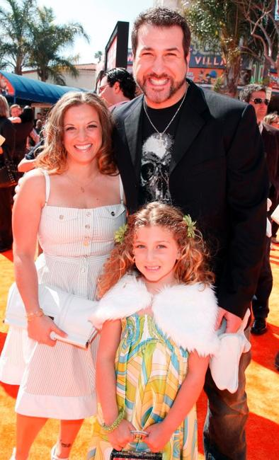 Joey Fatone, wife Kelly and his daughter Briahna at the world premiere of