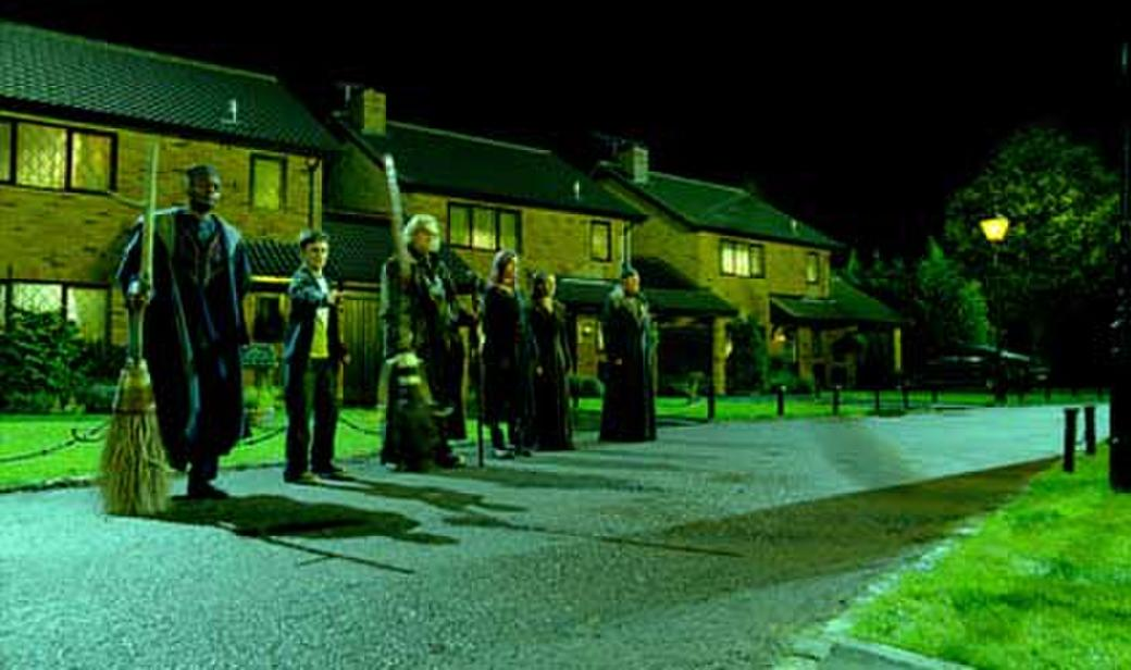 George Harris as Kingsley Shacklebolt, Daniel Radcliffe, Brendan Gleeson, Natalia Tena, Bridgette Millar as Emmeline Vance and Peter Cartwright as Elphias Doge in