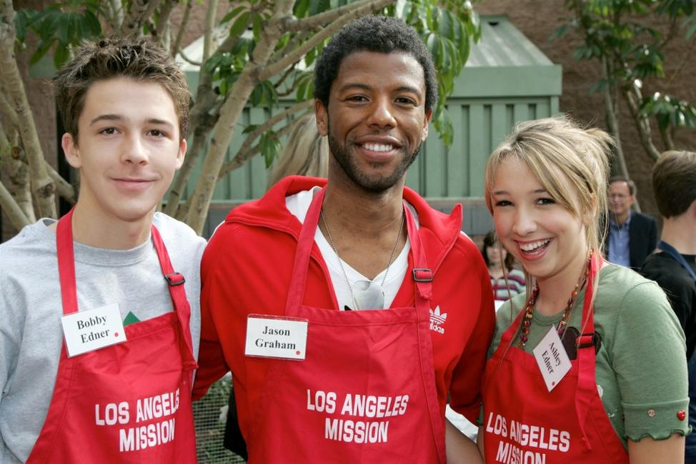 Bobby Edner, Jason Graham and Ashley Edner at the Los Angeles Mission's Christmas meal for the homeless.
