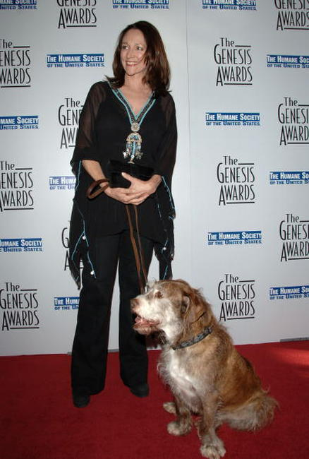Olivia Hussey and Rusty the dog from Rocky at the 21st Genesis Awards.