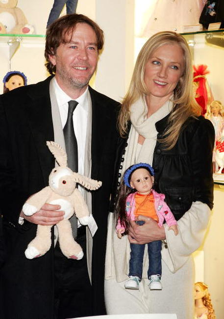 Timothy Hutton and Joely Richardson pose during a doll signing to celebrate the premiere of