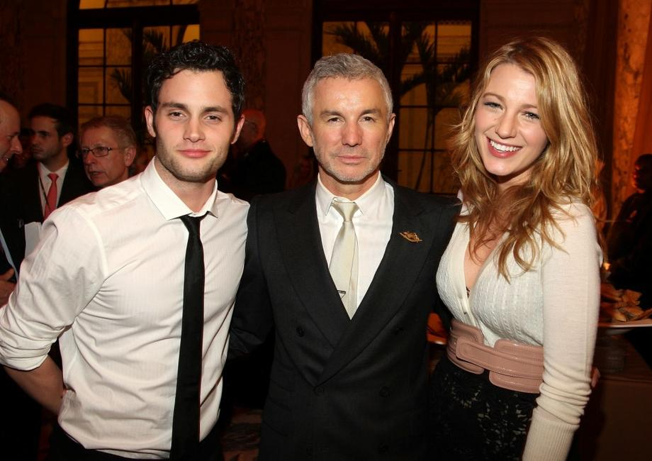 Penn Badgley, Director Baz Luhrmann and Blake Lively at the premiere of