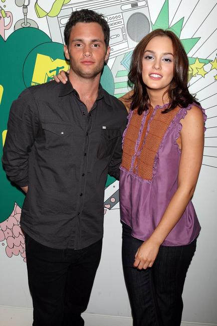 Penn Badgley and Leighton Meester at the MTV's Total Request Live.