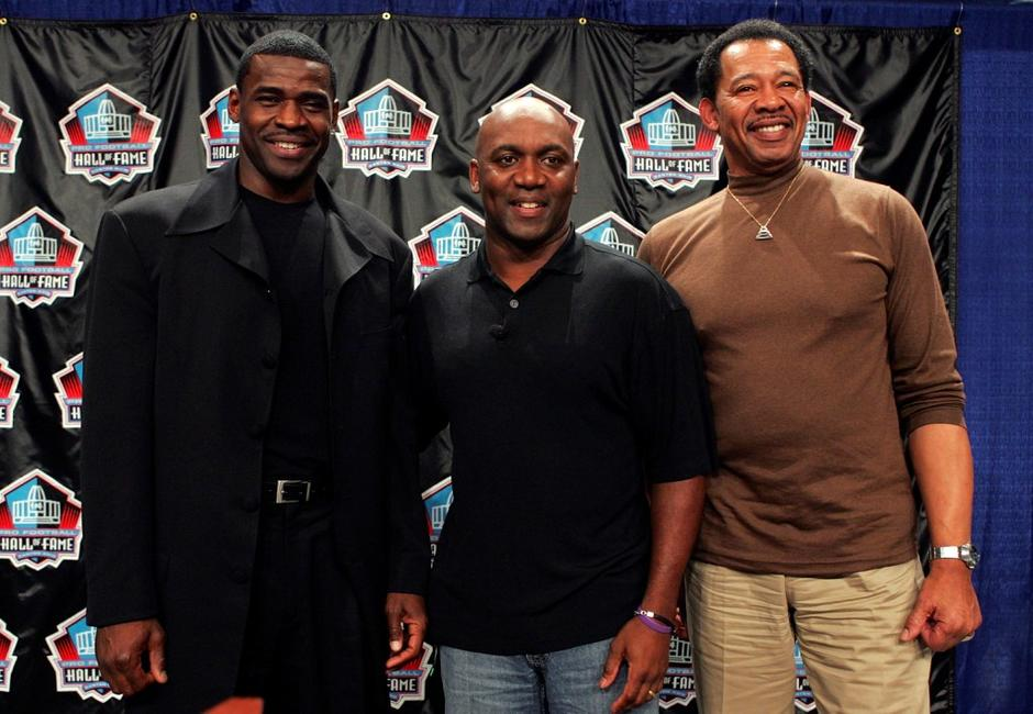 Michael Irvin, Thurman Thomas and Charlie Sanders at the Pro Football Hall of Fame Press Conference.