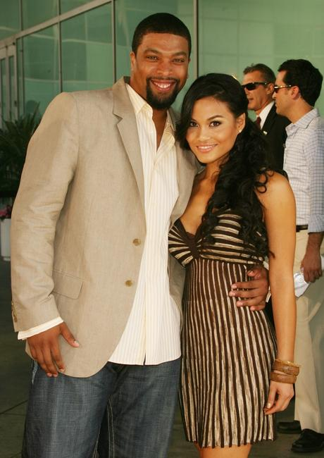 DeRay Davis and his guest at the premiere of