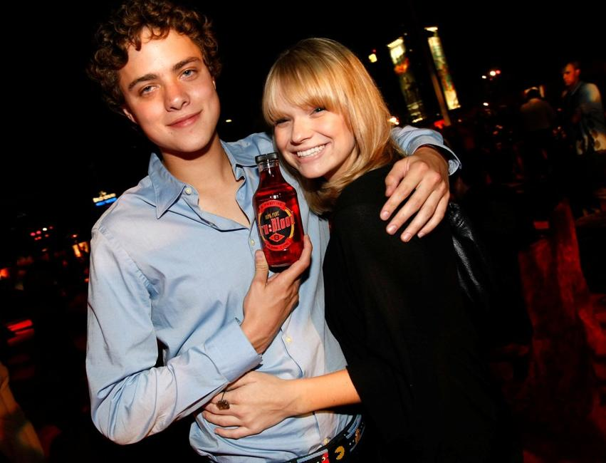 Douglas Smith and Amanda Heard at the after party of the Los Angeles premiere of