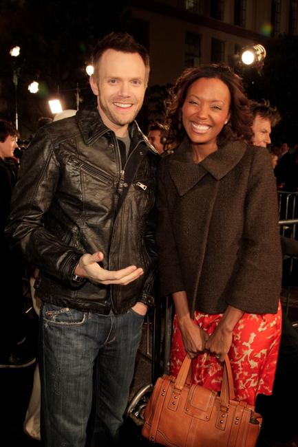 Joel McHale and Aisha Tyler at the premiere of