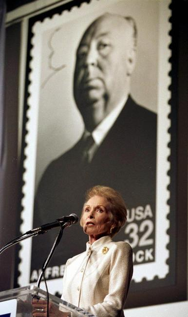 Janet Leigh at the unveiling ceremony of a US postage stamp bearing Alfred Hitchcock's portrait.