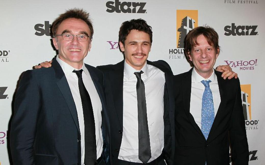 Director Danny Boyle, James Franco and Christian Colson at the 14th Annual Hollywood Awards Gala.