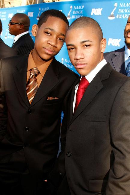 Tyler James Williams and Tequan Richmond at the 39th NAACP Image Awards.