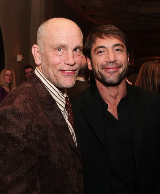 John Malkovich and Javier Bardem at the premiere of Miramax Films