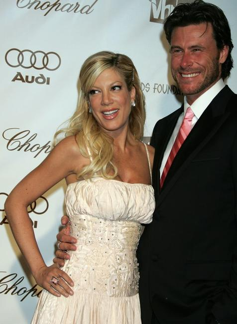 Tori Spelling and Dean McDermott at the 14th Annual Elton John Academy Awards viewing party.