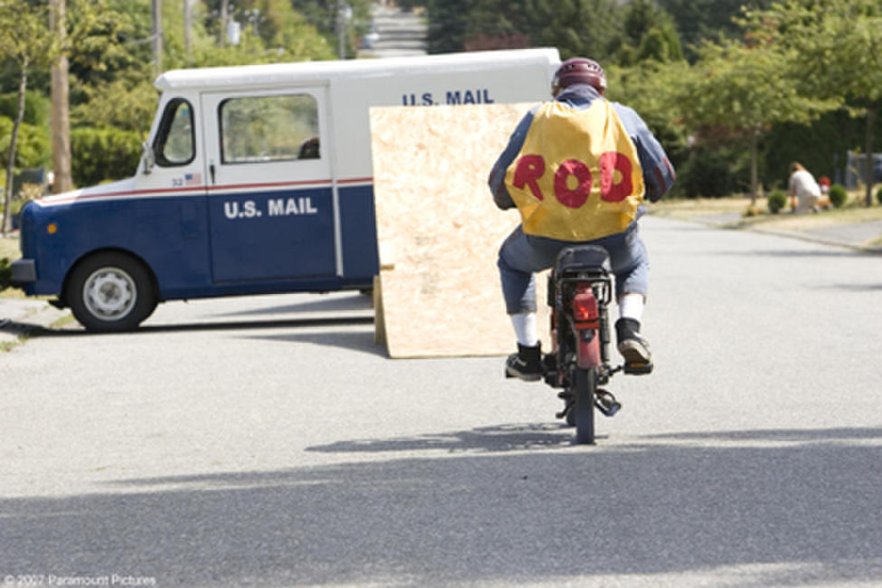 Rod Kimble (Andy Samberg) attempts to jump a mail truck in