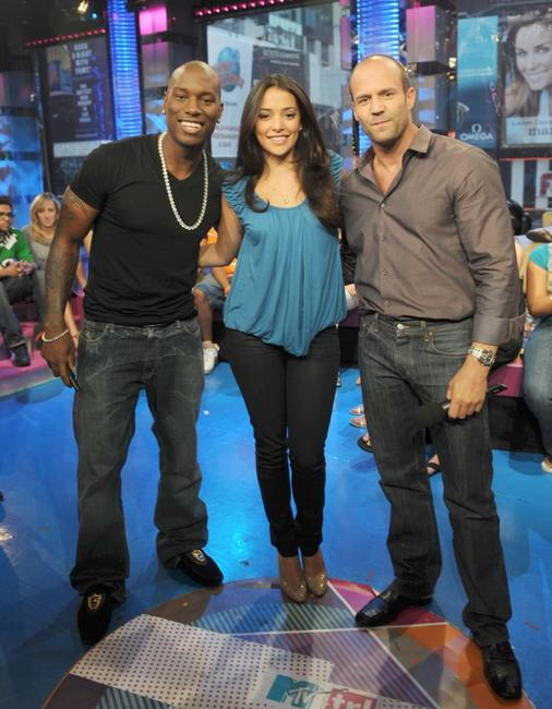 Tyrese Gibson, Natalie Martinez and Jason Statham at the MTV studios in Times Square.