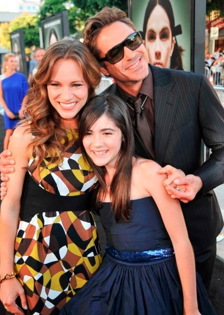 Susan Downey, Isabelle Fuhrman and Robert Downey Jr. at the premiere of