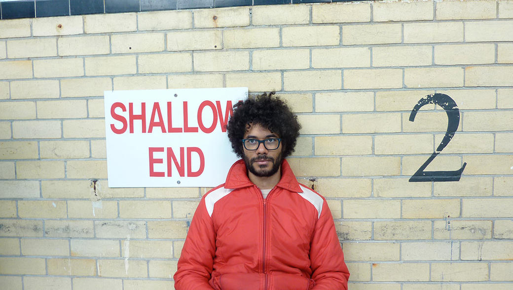 Richard Ayoade on the set of
