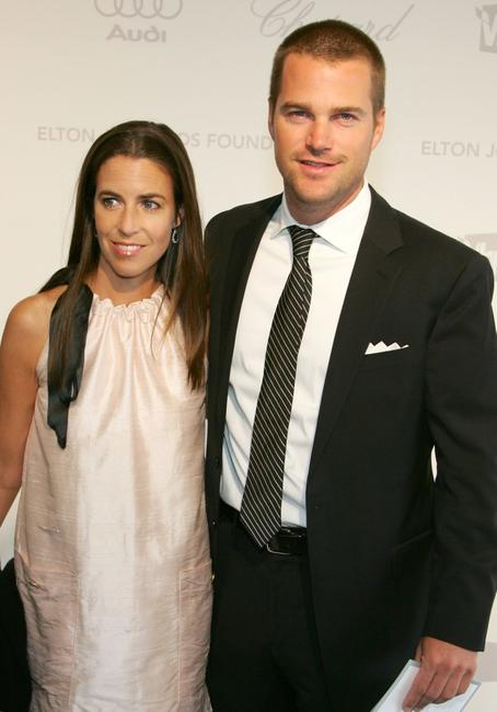 Chris O'Donnell and his wife Caroline Fentress at the 15th Annual Elton John AIDS Foundation Academy Awards viewing party.
