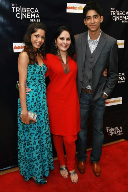 Freida Pinto, Producer Loveleen Tandan and Dev Patel at the 2008 Tribeca cinema series.