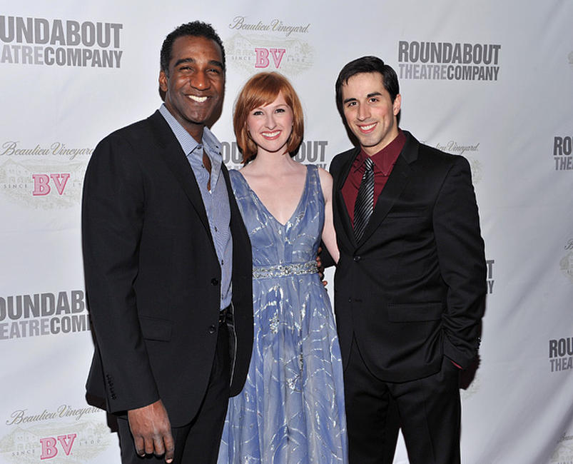 Norm Lewis, Erin Mackey and Matthew Scott at the after party of the Broadway Opening Night of