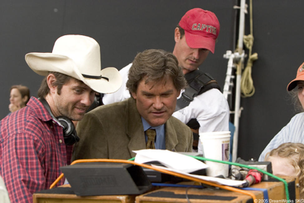 Writer/director John Gatins and Kurt Russell on the set of