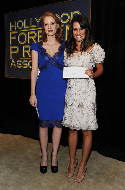 Jessica Chastain and Lea Michele at the Hollywood Foreign Press Association's 2011 Installation Luncheon in California.