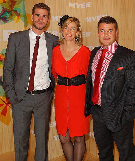 Liam Hemsworth, Leonie Hemsworth and Guest at the Myer marquee during Emirates Melbourne Cup Day in Australia.