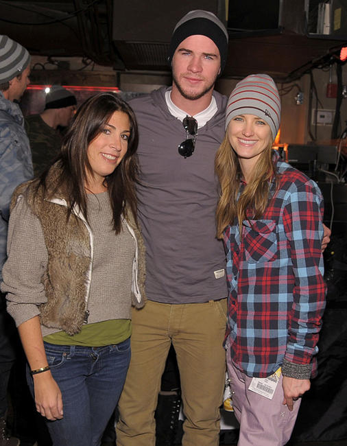Jessica Meisels, Liam Hemsworth and Chelsea Jurgensen at the Oakley party in Utah.