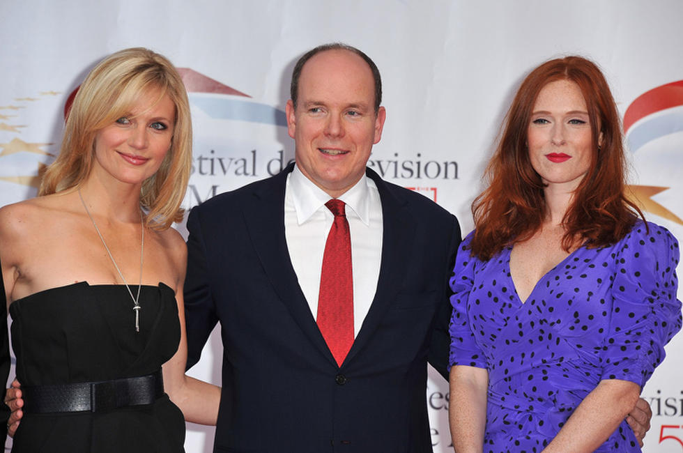 Sandrine Corman, Pirnce Albert II of Monaco and Audrey Fleurot at the opening ceremony of 51st Monte Carlo TV Festival.