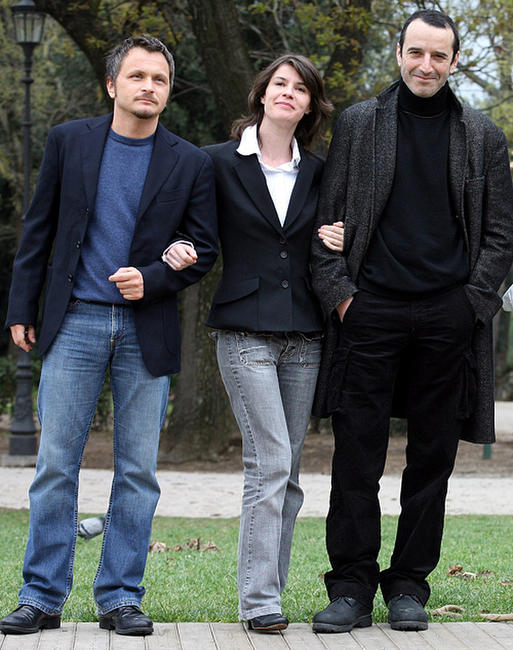 Director Paolo Franchi, Irene Jacob and Bruno Todeschini at the photocall of