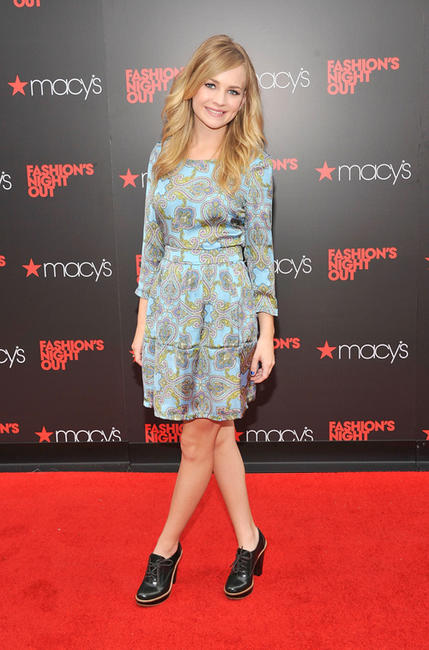 Britt Robertson at the Fashion's Night Out at Macy's Herald Square in New York.