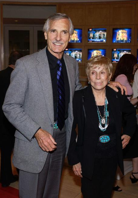Dennis Weaver and wife Gerry at the surprise 70th birthday party for television talk show host Larry King.
