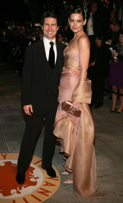 Tom Cruise and Katie Holmes at the 2007 Vanity Fair Oscar Party in West Hollywood.