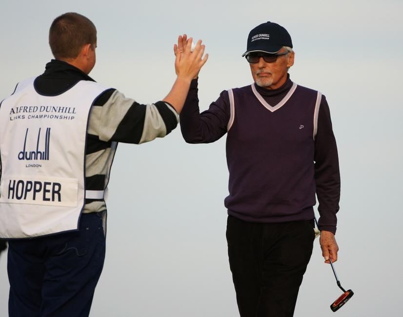 Dennis Hopper and caddie at the third round of The Alfred Dunhill Links Championship at Kingsbarns Golf Links.