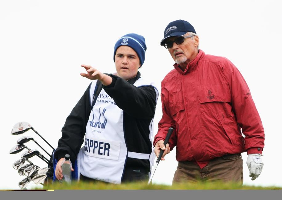 Dennis Hopper and caddie at the first round of The Alfred Dunhill Links Championship at Kingsbarns Golf Links.