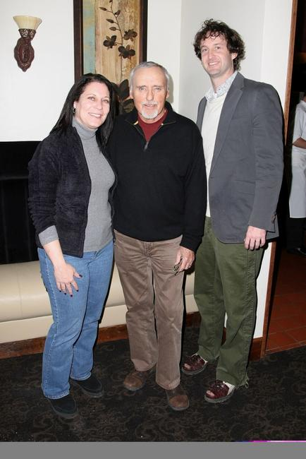 Dennis Hopper, Robin Greenspun and Trevor Groth at the CineVegas luncheon held at Fin Restaurant during the 2008 Sundance Film Festival.