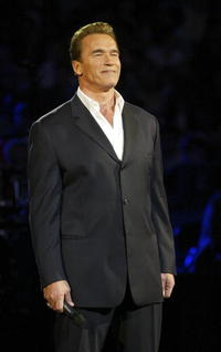 Arnold Schwarzenegger talks to the audience before the 2004 NBA All-Star Game in L.A.