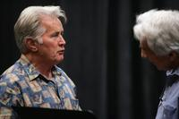 Martin Sheen and Gordon Davidson at the rehearsal for the benefit reading of